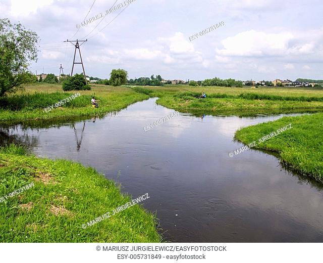 Welna and Nielba river bifurcation in Wagrowiec, Poland