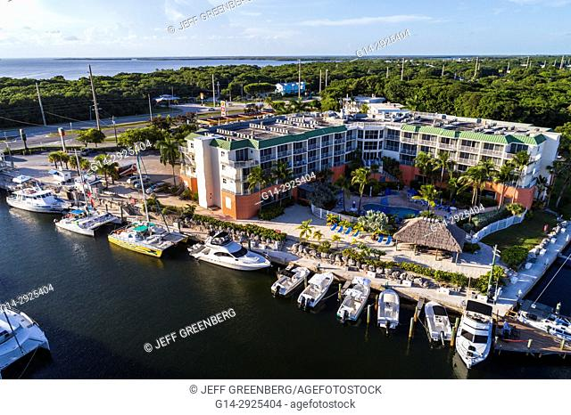 Florida, Florida Keys, Upper, Key Largo, canal, boats, marina, Courtyard by Marriott, hotel, aerial overhead view above bird's eye