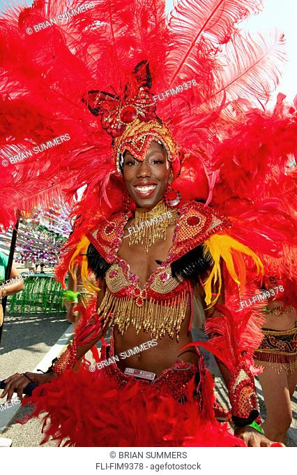 Woman in costume for the Caribana Festival Parade, Toronto, Ontario
