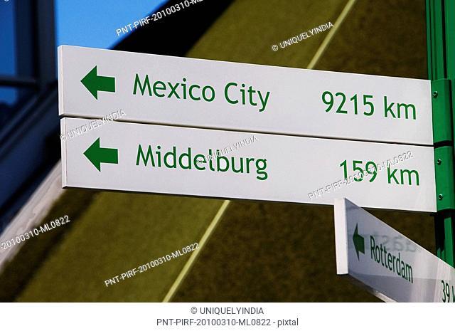 Miniature directional signs in a miniature city, Madurodam, Scheveningen, The Hague, Netherlands