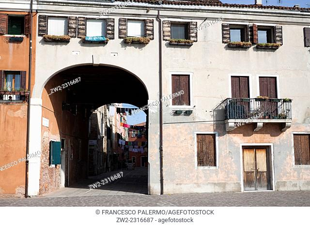 Majestic house facade with large gateway. Venice, Veneto. Italy