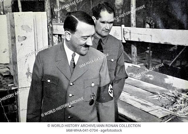 Adolf Hitler 1889-1945. German politician with his deputy Rudolf Hess