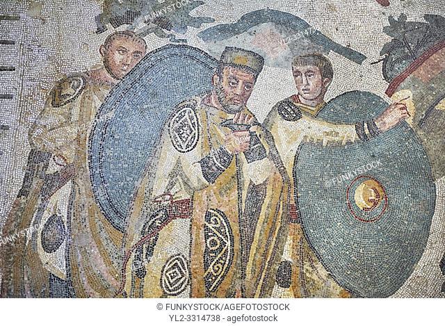 Ambulatory of the Great Hunt Roman mosaic, Emperor Maximianus watches the animal hunt, room no 28, at the Villa Romana del Casale