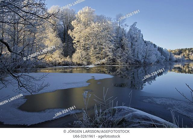 Winter landscape with frost. Botlyrka Sodermanland Sweden
