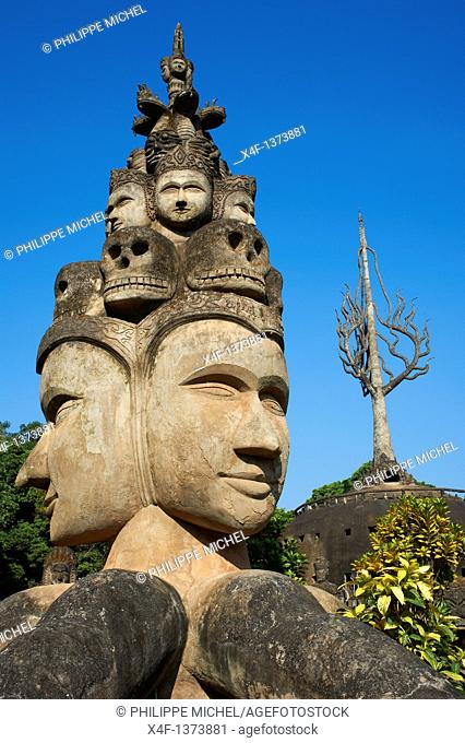 Laos, Province of Vientiane, Xieng Khuan, Buddha Parc, 1958, statue of Buddha, hindou and buddhist sculpture