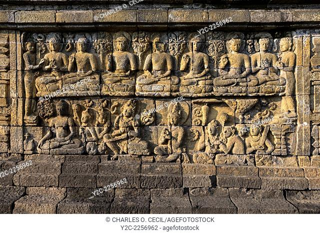 Borobudur, Java, Indonesia. Bas-relief Stone Carving, North Face. Scenes from the Buddha's Life, Showing him Seeking Enlightenment
