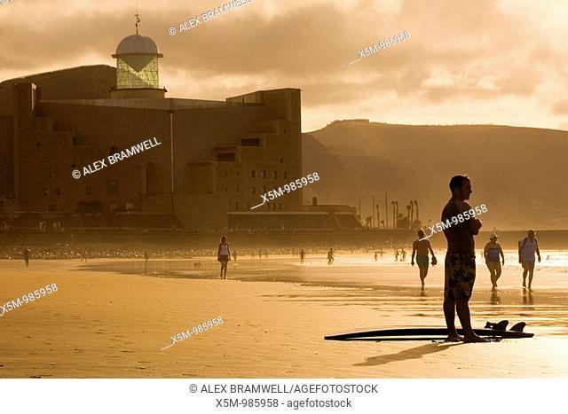 Surfer at Sunset on Las Canteras Beach in Las Palmas de Gran Canaria