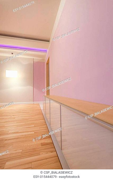 Violet room with modern ceiling