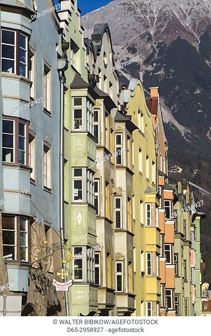 Austria, Tyrol, Innsbruck, buildings along the Inn River riverfront