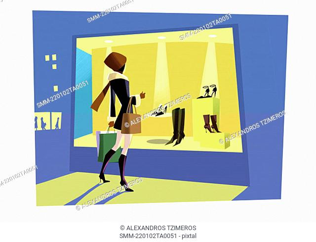 Woman looking at a shoe store window