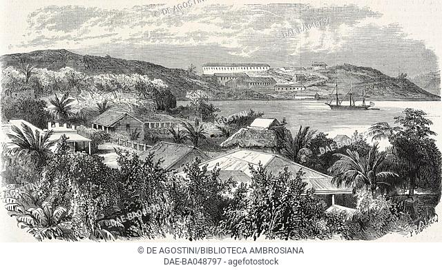 French artillery warehouse, Noumea, New Caledonia, illustration from the magazine L'Illustration, Journal Universel, volume LVII, no 1482, July 22, 1871