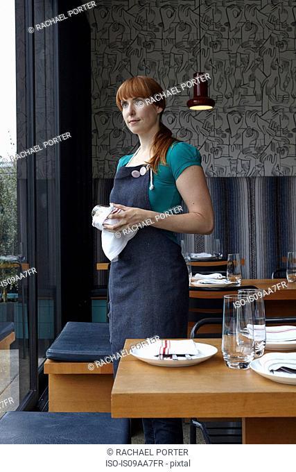 Mid adult woman polishing glass in restaurant