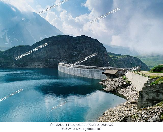 Artificial lake for electricity, dam in Val Formazza, Piedmont, Italy
