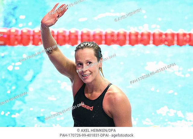 Italy's Federica Pellegrini celebrates her victory in the women's 200m freestyle at the FINA World Championships 2017 in Budapest, Hungary, 26 July 2017