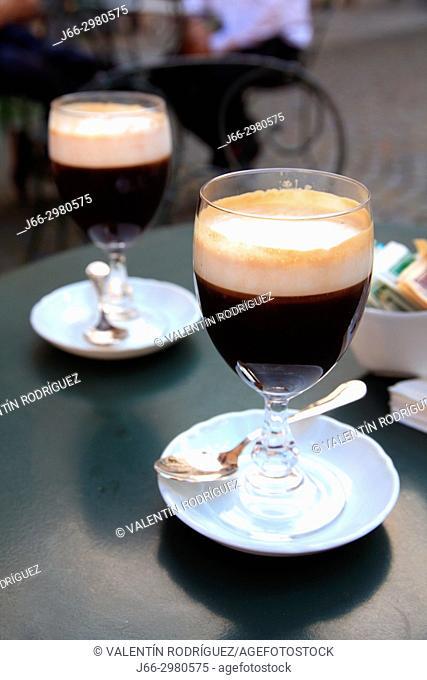 Bicerín, typical drink of Turín, of Bicerín coffee in Turín. Italy