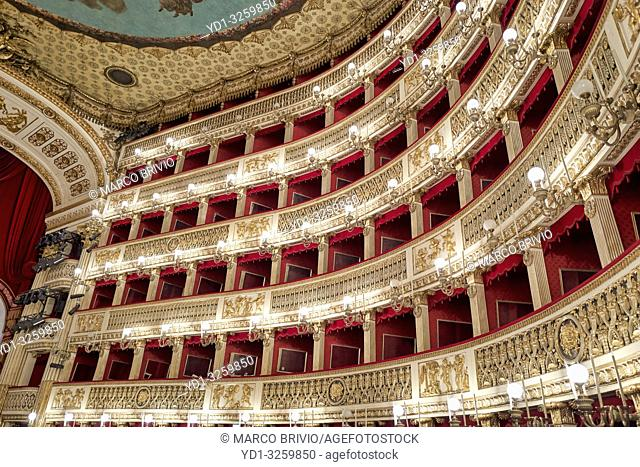 Naples Campania Italy. TheReal Teatro di San Carlo(Royal Theatre of Saint Charles), its original name under theBourbonmonarchy but known today as simply...