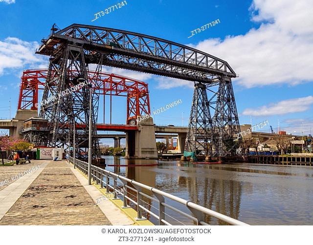 Argentina, Buenos Aires Province, City of Buenos Aires, La Boca, View of the vintage transporter bridge Puente Transbordador Nicolas Avellaneda