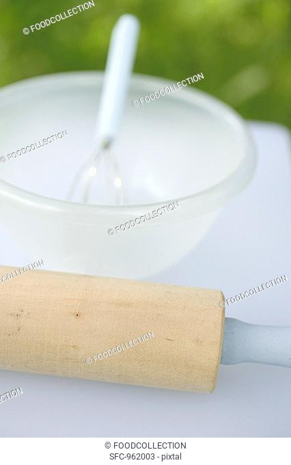 Rolling pin, bowl and whisk