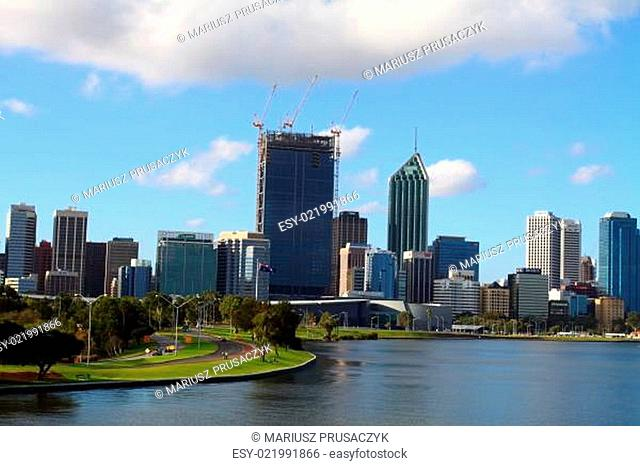 Skyscrapers and office buildings in Perth, Australia. City skyline