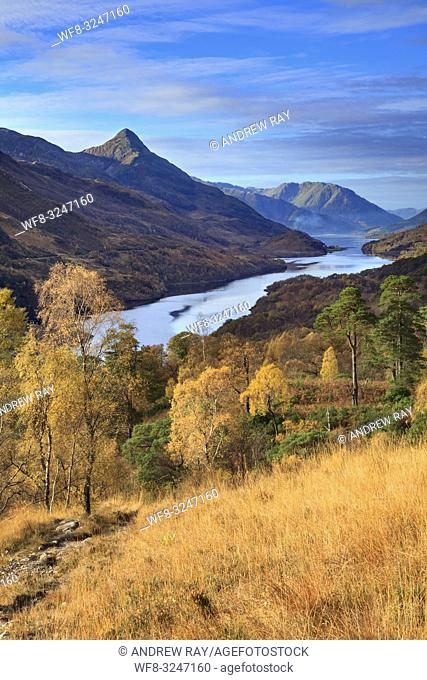 Loch Leven and the Pap of Glencoe in the Scottish Highlands, captured from a high vantage point on the footpath from Grey Mare Falls to Mamore Lodge on a...
