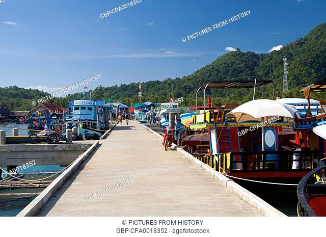 Thailand: Dive boats at the pier, Bang Bao fishing village, Ko Chang, Trat Province