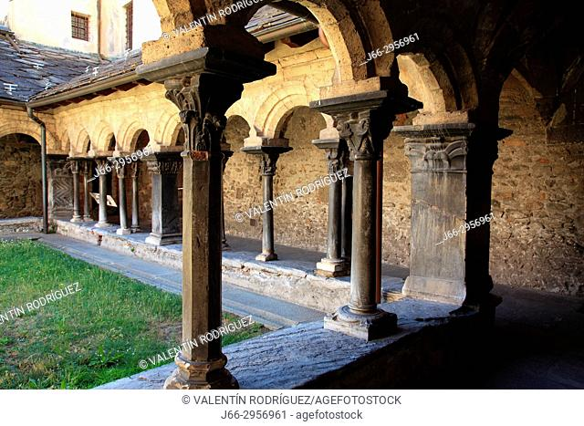 Cloister of the collegiate church of San Orso of the 11th century in Aosta. Italy