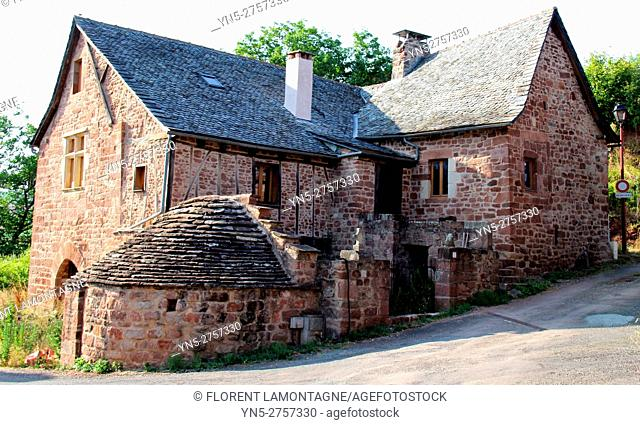 Typical house in the village of Mouret, Aveyron, Occitanie, Midi, Pyrénées