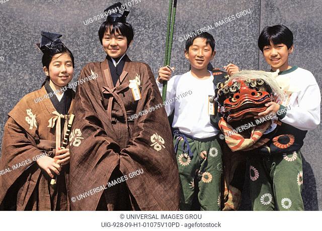 Japan, Takayama. Four Children In Traditional Festival Dress