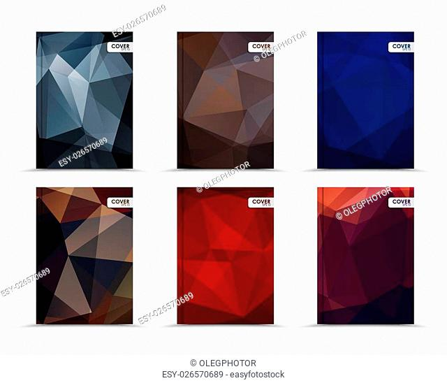 Set of template of dark covers for books, flyers, brochures or a report. Designed with black, brown, blue, red and purple abstract polygonal background