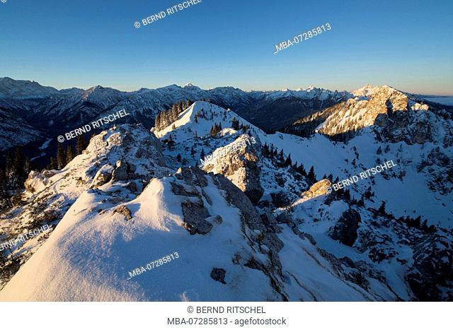 Sunrise at the Teufelstättkopf (mountain) in winter, near Oberammergau, Ammergau Alps, Upper Bavaria, Bavaria, Germany