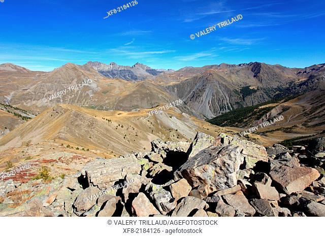 Col de la Bonette, Haute Vallée de la Tinée, Parc National du Mercantour, Alpes-Maritimes, Provence-Alpes-Côte d'Azur, France