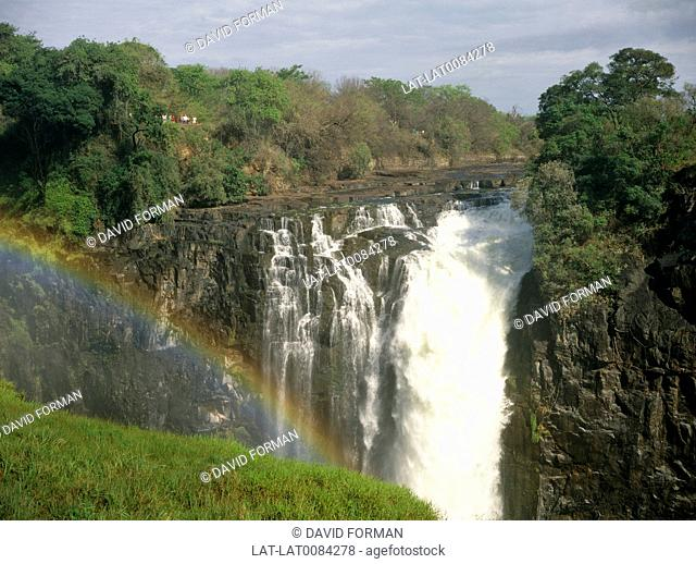 The Victoria Falls,also known as the Flight of angels,Mosi-oa-Tunya or Smoke that Thunders,is located on tha Zambezi River between Zambia and Zimbabwe