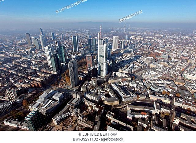 view from south to the city and business district, Germany, Hesse, Frankfurt/Main