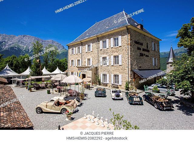 France, Hautes Alpes, Saint Firmin en Champsaur, 3 star hotel, restaurant Chateau des Herbeys of Christiane et Gilbert Delas on the main road 85 or route...
