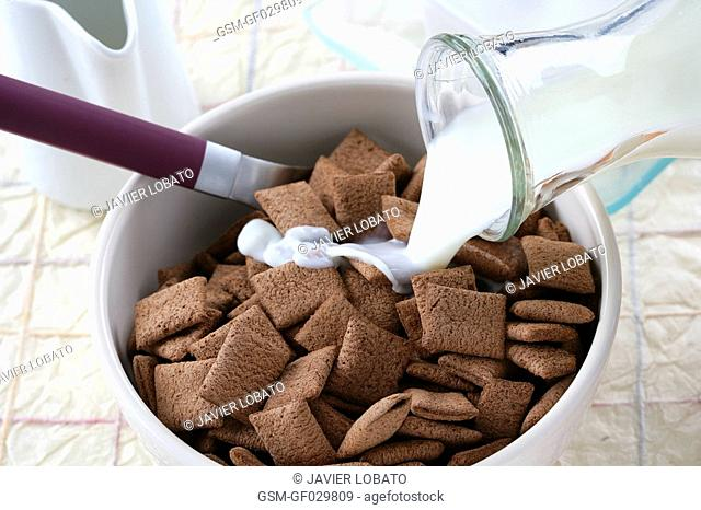 Pouring milk on chocolate cereals for breakfast