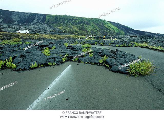 Old Lava Flows covering Road, Kona, Big Island, Hawaii, USA