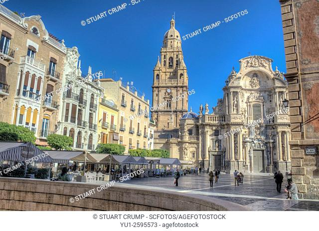 Murcia Cathedral and the Plaza del Cardenal Belluga in Murcia, Spain