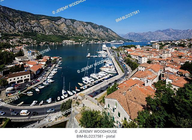 Boats in harbor, Kotor, Dalmatia, Montenegro