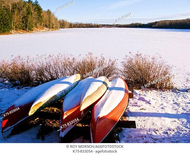 Canoes by frozen lake