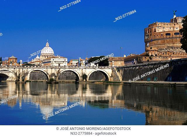 Sant Angelo Castle, Sant Angelo Bridge, River Tiber, Sant Angelo Castel, Mausoleum of Hadrian, Rome, Lazio, Italy