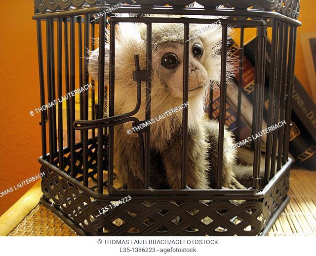 Doll monkey behind bars