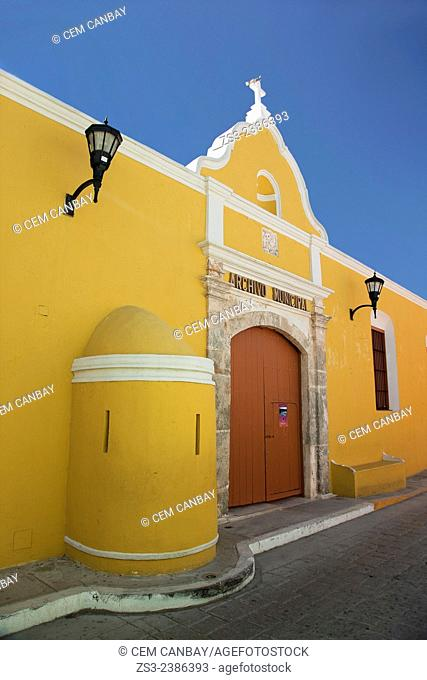 Archivo Municipal-City Archive building at the historic center of Campeche, Campeche Region, Yucatan, Mexico, Central America