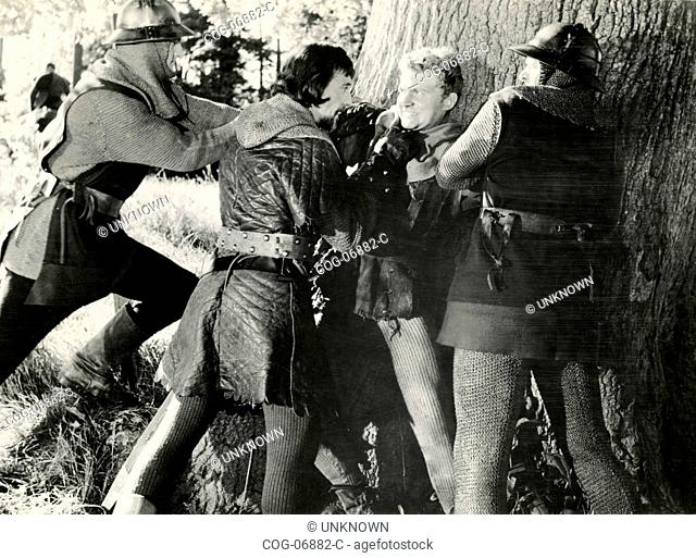 The actor Peter Cushing in a scene from the movie Sword of Sherwood Forest , UK 1960