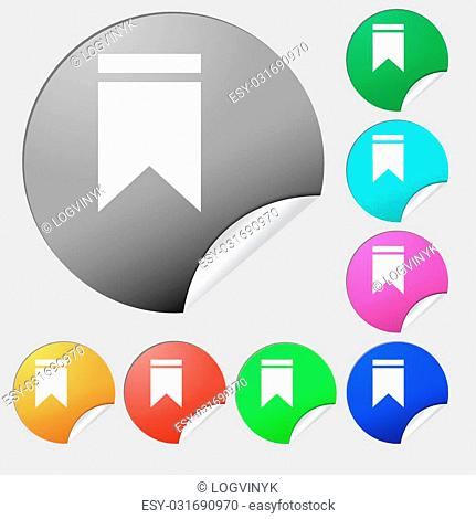 Web stickers, tags and banners. Sale icon sign. Set of eight multi-colored round buttons, stickers. Vector illustration