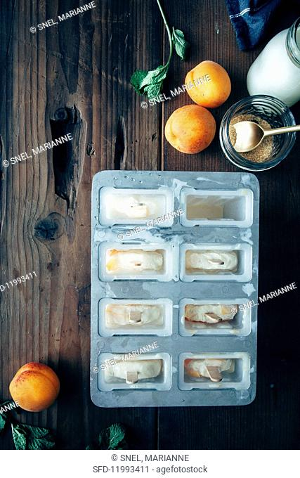 Apricot ice creams in an ice lolly mould next to the ingredients (apricots, cream, sugar and mint)