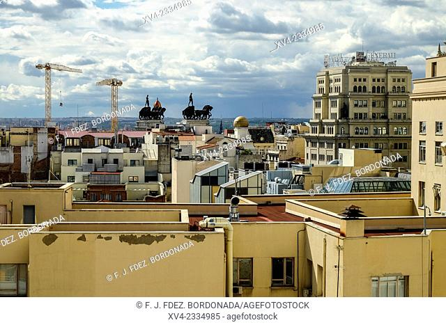 Panoramic views from Corte Ingles of Callao top floor, terrace. Madrid city. Capital of Spain. Europe