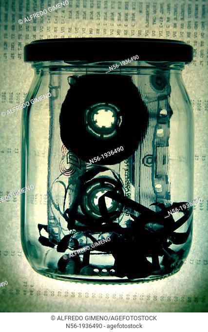 Tape in a glass jar