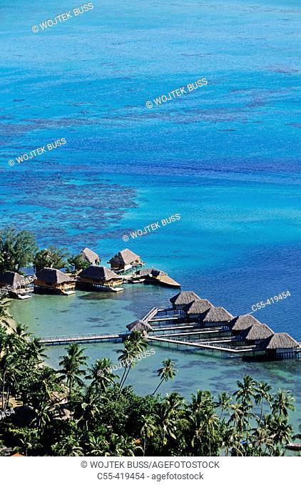 Hotel Moana Beach in lagoon, Bora Bora. Leeward Islands, French Polynesia
