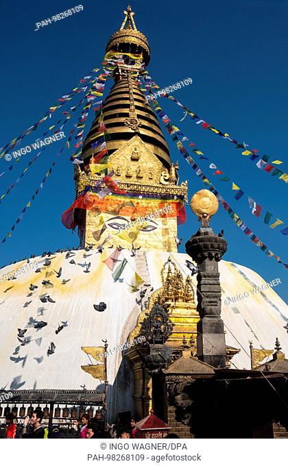 The Stupa of Swayambhunath, known as the monkey temple, on a hill in the Nepalese capital Kathmandu.   usage worldwide. - Kathmandu/Nepal