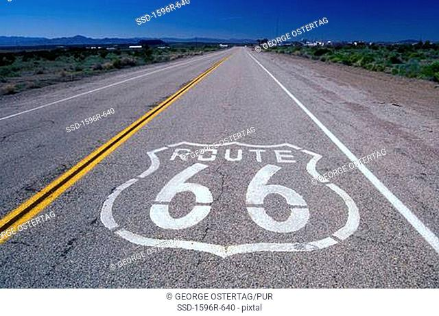 Sign painted on the roadway, Route 66, Amboy, California, USA
